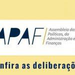 APAF: confira os encaminhamentos