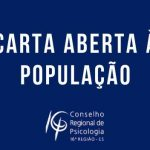 CARTA ABERTA À POPULAÇÃO