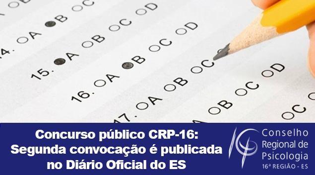 Concurso Público CRP-16: segunda convocação é publicada no Diário Oficial do ES