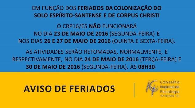 Aviso de Feriados CRP16 ES_aviso_redimensionado