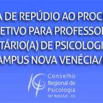 Nota de repúdio ao processo seletivo para professor(a) voluntário(a) de Psicologia – Ifes Campus Nova Venécia/ES