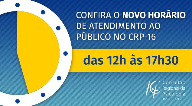 Atenção: CRP-16 tem novo horário de atendimento ao público