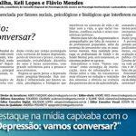 """CRP-16 é destaque na imprensa capixaba com artigo: """"Depressão: vamos conversar?"""""""