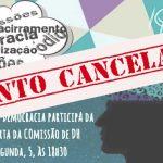 GT Psicologia e Democracia: reunião desta segunda-feira, 5, está cancelada