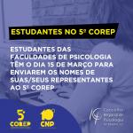 Faculdades de Psicologia têm até o dia 15 para apresentar nomes dos representantes das/os estudantes no 5º Corep