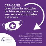 CRP-16/ES providencia medidas de biossegurança para sua sede e atividades externas